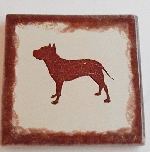American Staffordshire Terrier Coasters Pit Bull Square Set of 4 Ceramic