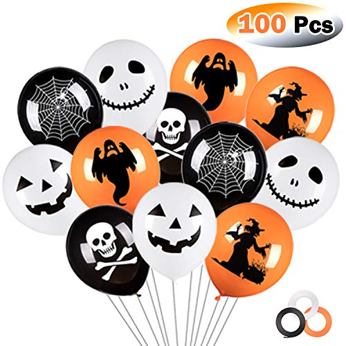 Whaline 100Pcs Halloween Balloons with 3 Rolls of Ribbons, 12 Inches Latex Balloons 6 Styles Halloween Pumpkin, Ghost and Skull Balloon Party Decoration Supplies (White, Orange, Black)