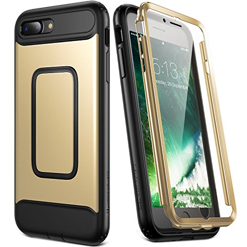 YOUMAKER Case for iPhone 8 Plus & iPhone 7 Plus, Full Body with Built-in Screen Protector Heavy Duty Protection Shockproof Slim Fit Cover for Apple iPhone 8 Plus (2017) 5.5 Inch - Gold/Black