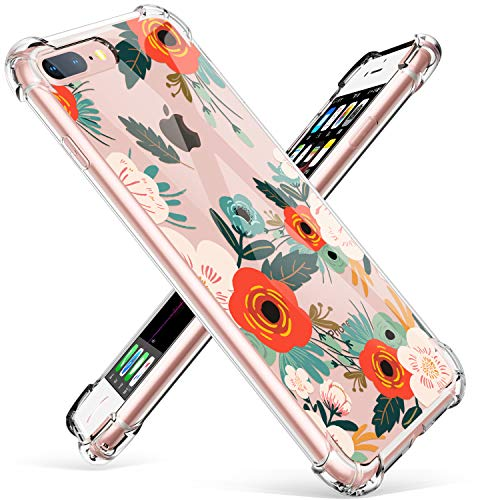 GVIEWIN Clear Case for iPhone 8 Plus/7 Plus, Flower Pattern Design Soft & Flexible TPU Ultra-Thin Shockproof Transparent Floral Cover, Cases for iPhone 7/8 Plus 5.5 Inch(Floral Blooming)
