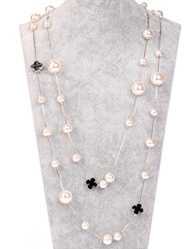 Chanel Charm Necklace (Fashion Jewelry MISASHA Bridal Imitation Pearl Silver Tone Necklace)