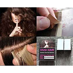 """20 Pcs X 18"""" inches Remy Seamless Tape Skin weft Human Hair Extensions Color # 2 Dark Brown"""