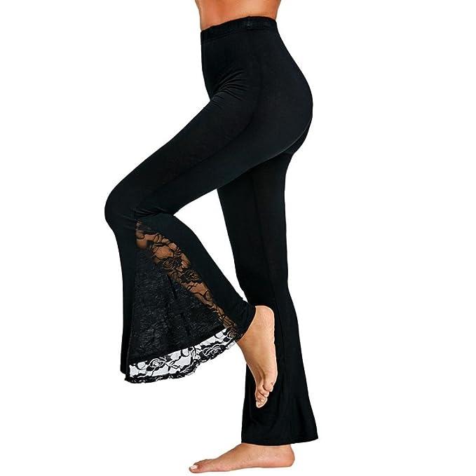 dfaf4959953f Ba Zha HEI Mode Damen Sexy Hohe Taille Leggings Hosen Spitze Panel ...