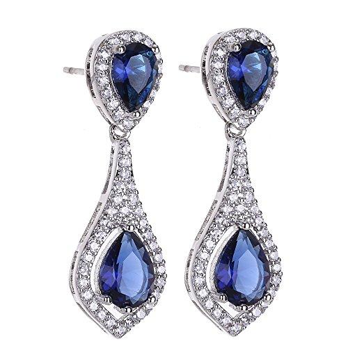 AMYJANE Bridal Crystal Jewelry Set - Elegant Vintage Sterling Silver Blue Teardrop Wedding Cubic Zirconia Sapphire Jewelry Set for Women Brides Bridesmaids September Birthstone Jewelry by AMYJANE (Image #2)