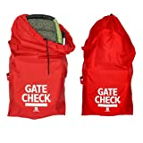 J.L. Childress Gate Check Bag For Standard and Double Strollers, Red, 2 Pack