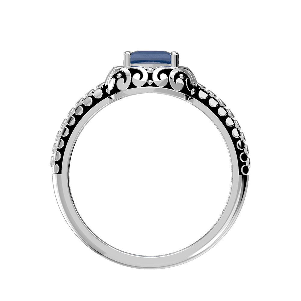 Genuine Sapphire Cushion /& Solid .925 Sterling Silver Rings 1.05ctw