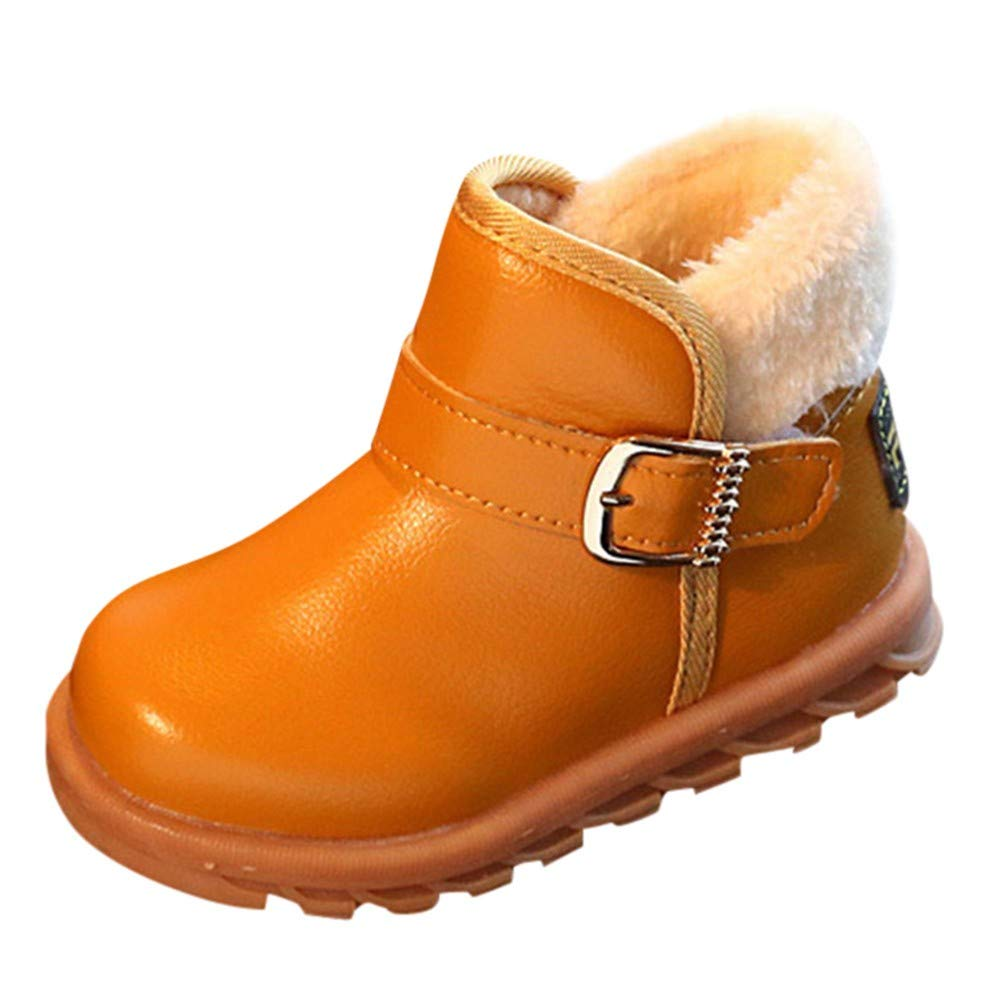 Kid Baby Girls Winter Cotton Boots,Solid Leather Warm Martin Boots Princess Winter Non-Slip Snow Boots (US:5.5, Brown)