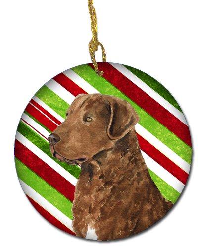 Caroline's Treasures SS4600-CO1 Chesapeake Bay Retriever Candy Cane Holiday Christmas Ceramic Ornament, Multicolor