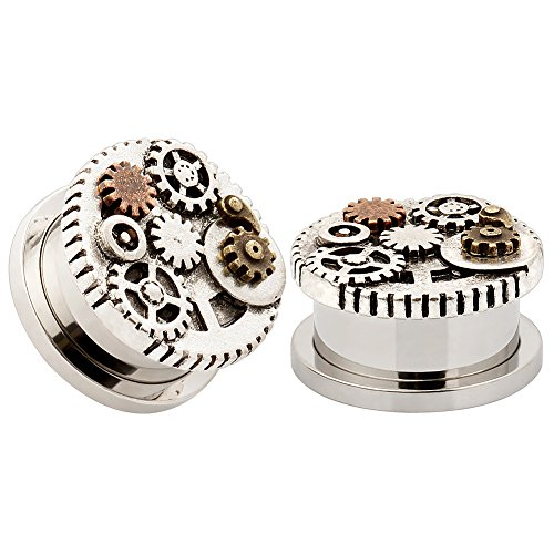 KUBOOZ Design Gear Wheel Stainless Steel Ear Flesh Studs Plugs and Tunnels Piercing Jewelry Screw Gauge 0G - Guage Wheel