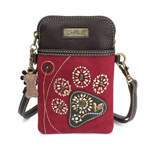 Chala Dazzled Crossbody Cell Phone Purse - Women Faux Leather Multicolor Handbag with Adjustable Strap - Pawprint Burgundy