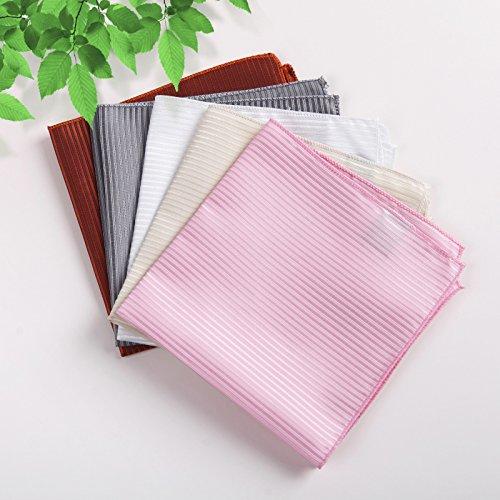 DEIA0004 Designer Stripes Microfiber Birthday Gifts for Mens Hanky Set 5 Hankerchiefs Set-Pink, Dark Orange, Grey, Beige, White By Dan Smith by Dan Smith (Image #1)