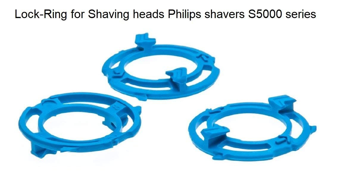 3pc Lock-Ring (Retaining-Plate, Holder) Compatible for Philips Shaving Heads Model/Type SH50 (Colour Blue). Shaver Series S5000 Hofoo