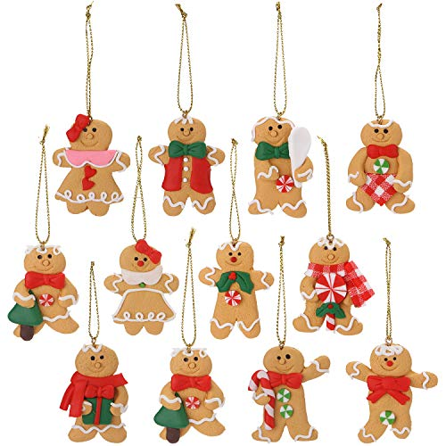 Sea Team Assorted Clay Figurine Ornaments Traditional Gingerbread Man Doll Gingerman Hanging Charms Christmas Tree Ornament Holiday Decorations, 2.76 inches, Set of 12 (Man Gingerbread Christmas Decorations)