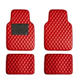 FH Group F12002 Luxury Universal All-Season Heavy Duty Faux Leather Car Floor Mats Stripe Design w. High Tech 3-D Anti-Skid/Slip Backing, Red Color
