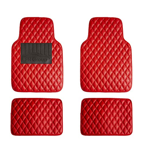 FH Group F12002 Luxury Universal All-Season Heavy Duty Faux Leather Car Floor Mats Stripe Design w. High Tech 3-D Anti-Skid/Slip Backing, Red Color 2006 Luxury Car Mats