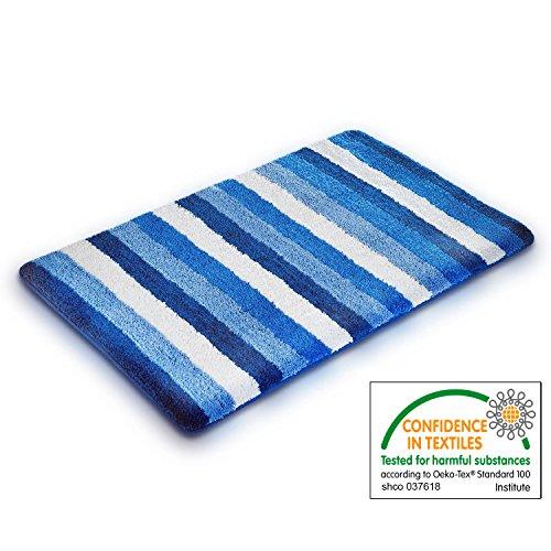 casa pura Bath Mat - Bath Rug Lukas - Soft Pile, Non-Slip, Blue Nautical Stripes - 20