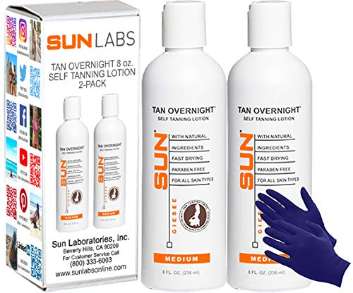 Sun Laboratories 8oz Tan Overnight Self Tanning Lotion 2-pack + Tanning Stickers - Self Tanner - Natural Sunless Tanning Lotion, Body and Face for Bronzing and Golden Tan - Sunless Bronzer