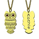 Zhoubing Owl Necklace with Back Engraving Silver Personalized Name Necklace Design Your Owl Necklace Birthstone Jewelry