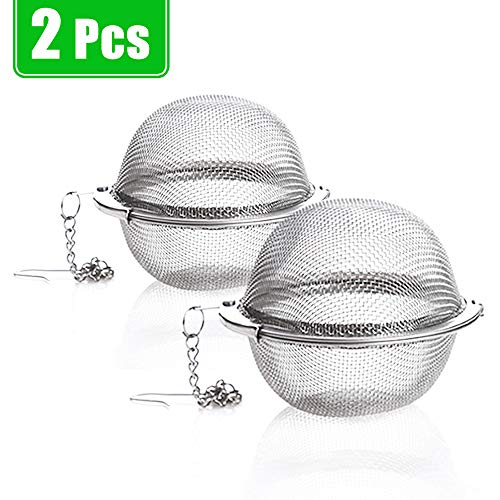 2 Pack Tea Strainer-Stainless Steel Mesh Tea Ball Infuser,Premium Tea Filter Tea Interval Diffuser with Extended Chain Hook for Loose Leaf Tea and Spices & Seasonings
