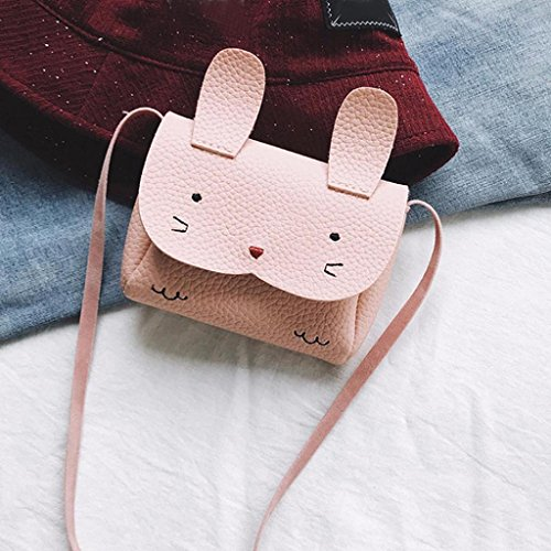 Girls Bags, SHOBDW Children Kids Cute Bunny Animal PU Leather Handbag Gifts Shoulder Mini Crossbody Party School Bag (12 x 2.5 x 9cm, White) Pink