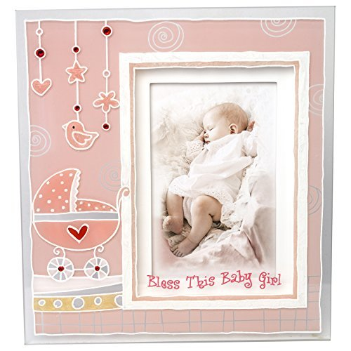 Madison Frame (Lauren Madison Girls Christening Baptism Painted 3D Glass Frame, Pink by Lauren)