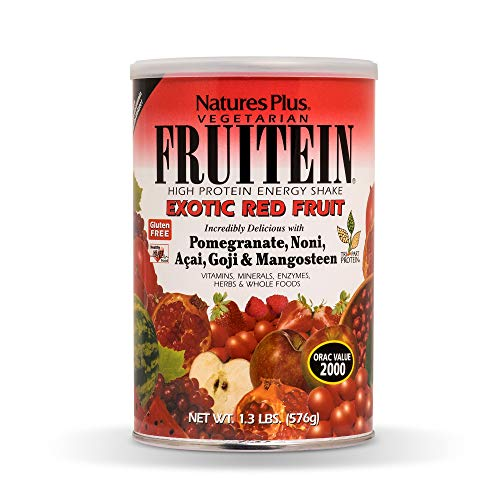 Natures Plus Fruitein Exotic Red Fruit Shake - 1.3 lbs, Vegetarian Protein Powder - Plant Based Meal Replacement with Red Superfoods, Antioxidant - Gluten Free - 16 Servings