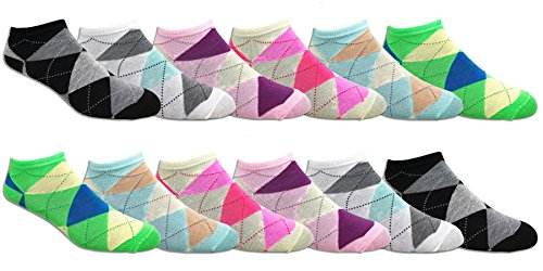 - Women's Soft Lightweight Colorful and Fun Low Cut Socks - Assorted Styles (12 Pairs) (Argyle)