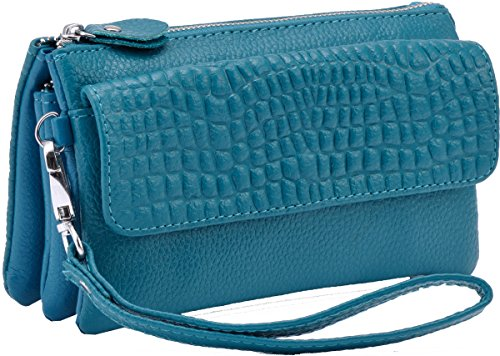 Clutches Bag for Blue Heshe Shoulder Womens body Cross Pocket Handbags Bags Wrist Sky Ladies Genuine Satchel let Leather U6Twxzt6