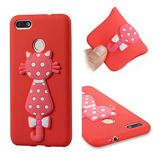 Price comparison product image Alfort Huawei CX/Chang Xiang 7 Case, Huawei CX/Chang Xiang 7 Cover, Cat Series Phone Case Cover Soft TPU Material Case for Huawei CX/Chang Xiang 7 Smartphone Image Cute Red Cat (Red)