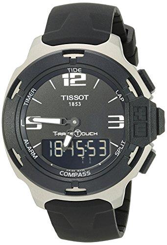 Tissot Men's T0814209705701 T-Race Black Dial Rubber Strap Watch
