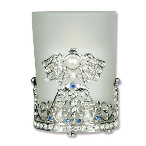 Nurse Candle Holder Frosted Glass & Metal Filigree Angel Jeweled Caduceus - Gift for Nurse - (Metal Angels Candle Holder)