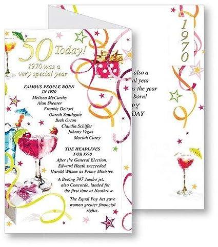 Tarjeta de felicitación de 50 cumpleaños para mujer, con texto en inglés