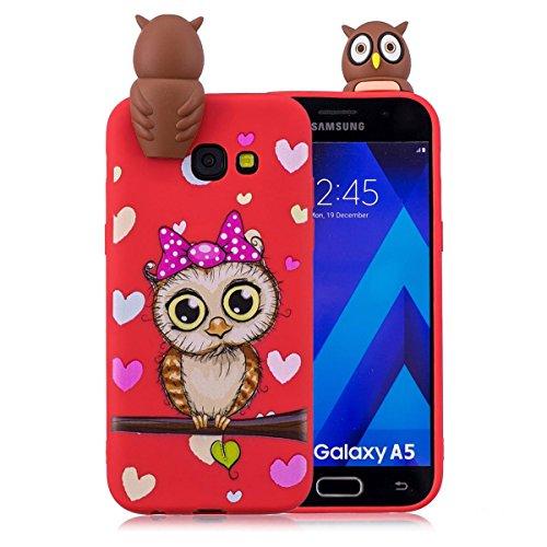 Funda Samsung Galaxy A7 2018, 3D Cartoon Carcasa Samsung Galaxy A7 2018, Elegante Alta Calidad TPU Suave Silicón Gel de Alta Resistencia y Flexibilidad Anti-arañazos y Antideslizante Choque-Absorción  Búho rojo