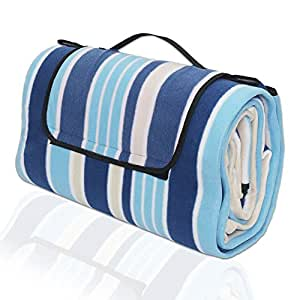"Waterproof Picnic Blanket Large Outdoor Beach Mat Tote, Oversized 79""x79"" Foldable Sand Resistant Beach Blanket, Compact Lightweight Soft Flannel Camping Mat, Uesd for Beach Stadium Park (Blue)"