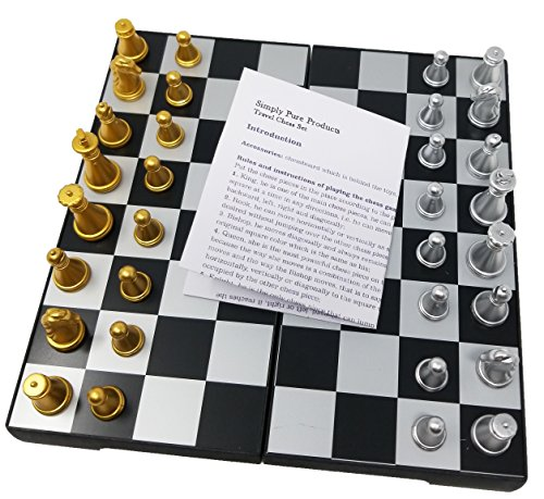 Magnetic Travel Chess Set with Storage, Folding Chess Set, Mini Chess Board, Adult Games, works great in the car, at the park or anywhere on the go! by Simply Pure Products