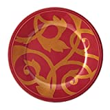Rachael Ray Dinnerware Gold Scroll 8-Inch Salad Plate, Cranberry Red