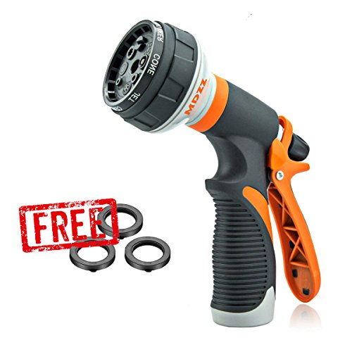MDZZ Garden Hose Nozzle, Superior Lightweight 8 Adjustable Watering Patterns Metal Water Spray Nozzle, High Pressure and Slip Resistant Rubberized Grip, for Cleaning, Car Wash and Shower ()
