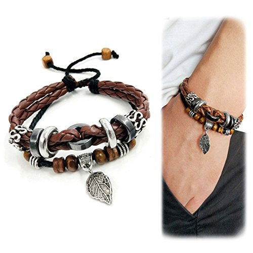 Woven Design Bracelet - Suyi Multilayer Adjustable Leather Woven Braided Bangle Cross Bracelet Leaf Wrist Cuff Wristband Lcoffee
