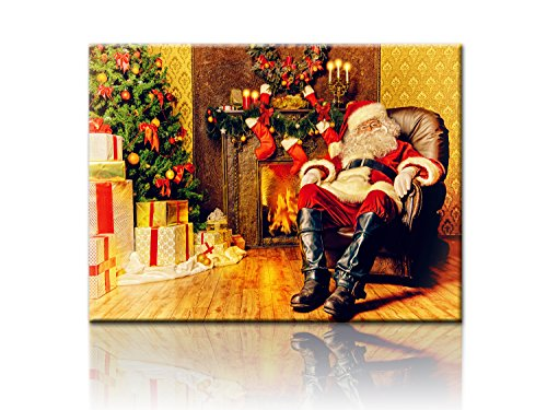 Santa Claus Special Lighted Canvas Print Painting with LED Light christmas day landscape decoration painting 12x16 in (Santa Christmas Prints)