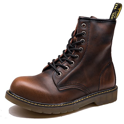 [OUOUVALLEY Men's Lace-Up Genuine Leather Waterproof Combat Boots (US10.5(CN45=275), Brown)] (Brown Waterproof Boot)