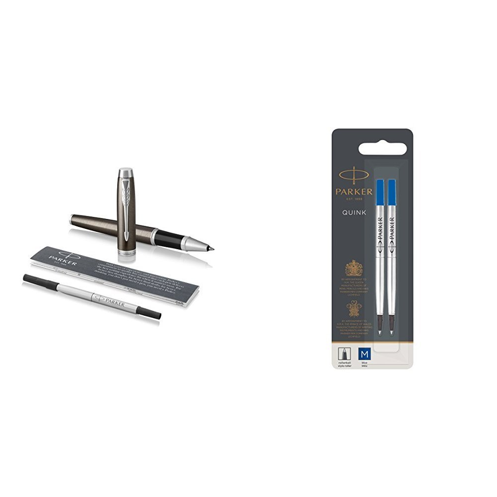 Blue Matte Blue with Fine Point Black Ink Refill Pack of 2 Parker IM Rollerball Pen Gift Box and Parker Rollerball Refill Medium Nib