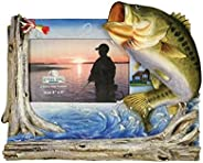"""Rivers Edge Bass Fishing Picture Frame - Holds 4"""" X 6&q"""