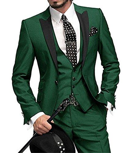 GEORGE BRIDE Slim Fit Men's Suit 3Pc Suit Jacket, Vest,Suit Pants,Green,4XL