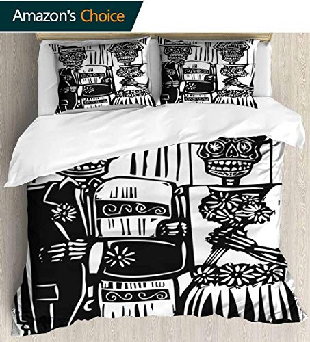 shirlyhome Day of The Dead 3 PCS King Size Comforter Set,Woodcut Style Skeleton Couple Wedding in Cemetery Image with Bride Groom with 1 Pillowcase for Kids Bedding 79