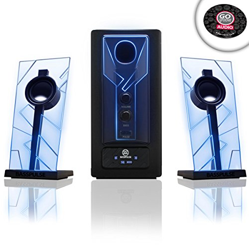 GOgroove BassPULSE Gaming Computer Speaker System 2.1 with Powered Subwoofer, Loud Bass, Volume Control and Blue LED Lights - Compatible with Desktop, Laptop, PC