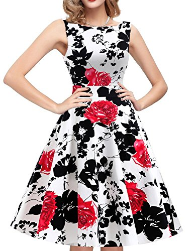 IHOT Women's Vintage Floral Sleeveless Elegant Casual Party Cocktail Wedding Night Dress. Red Small (Dresses Party Night)