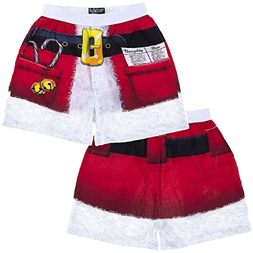 Fun Boxers Mens Fun Prints Boxer Shorts, Xmas Santa, Medium ()