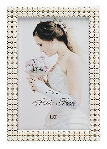 ame Silver Plated with Pearls 4x6 Inch, Special Occasion Anniversary Wedding Gift Photo Frame ()