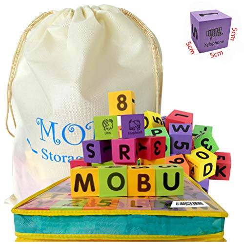 (MOBU 30 Pcs Foam Building Blocks, Alphabet Blocks, ABC, Numbers 0-9, Stacking Blocks for Kids Babies Toddlers Playing Indoor Outdoor Bathroom Bathtub or Beach (Reusable Storage Bag))