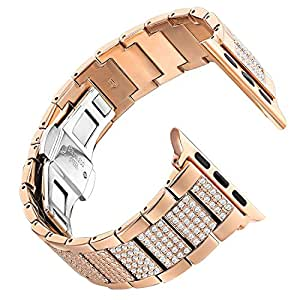 Leefrei Copper Alloy Watch Band Metal Replacement Strap with Rhinestone for Apple Watch Series 3 Series 2 and Series 1 38mm - Copper